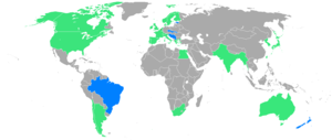 1920 Summer Olympics - Participants in the 1920 games, with the nations in blue participating for the first time.
