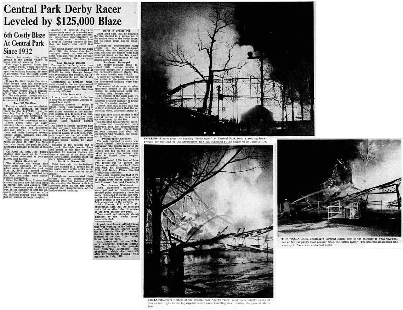 File:1950 - Central Park - Derby Racer Fire - 26 Dec MC - Allentown