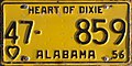 1956 Alabama passenger license plate.jpg
