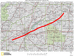 Official track of the tornado through central Mississippi