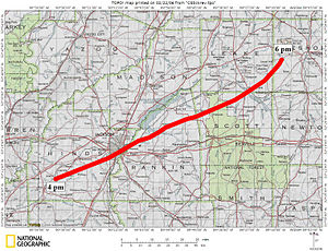 1966 Candlestick Park tornado - Official track of the tornado through central Mississippi