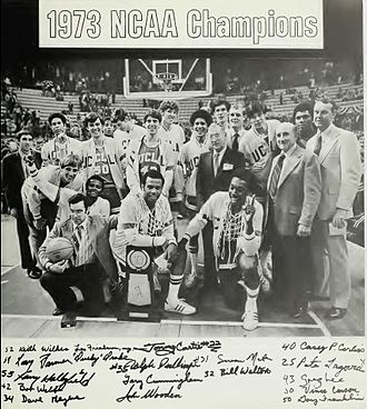 Bill Walton - 1973 UCLA yearbook, Southern Campus. 1973 UCLA basketball NCAA champions, Walton in back middle.
