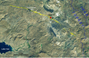 1976 Çaldıran–Muradiye earthquake - Extent of surface faulting in the earthquake, epicentre shown by red star