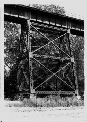 Little Pipe Creek bridge and viaduct - Looking westward at one of tower spans on the Frederick county side, taken in 1991