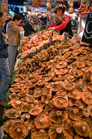 Lactarius - Lactarius deliciosus for sale on a market in Barcelona, Spain