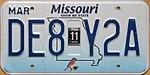 2008 Missouri license plate DE8 Y2A.jpg