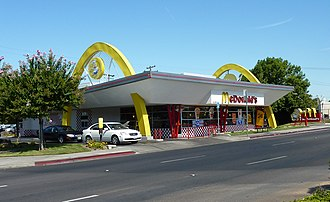 History of McDonald's - First restaurant franchised under Kroc's efforts, the tenth-ever location, at Blackstone and Shields Avenues (though torn down and rebuilt twice) in Fresno, California.