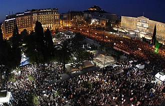 European debt crisis - 100,000 people protest against austerity measures in front of parliament building in Athens, 29 May 2011
