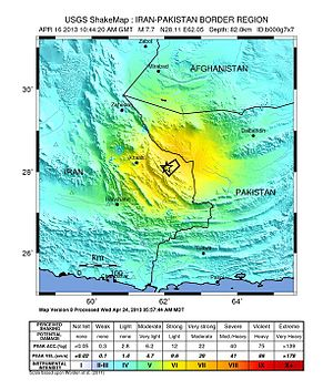 2013 Saravan earthquake - USGS ShakeMap for the mainshock