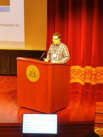 Wikipedian in residence - Dominic McDevitt-Parks speaking at WikiConference USA 2015 hosted at the National Archives Building.