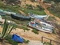 2018-03-14 Fishing boats pulled up on Praia Santa Eulália, Albufeira.JPG