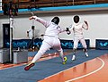 2nd Leonidas Pirgos Fencing Tournament. The fencer Georgios Panagiotakopoulos performs a lunge.jpg