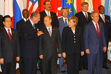 Vladimir Putin with George W. Bush and other Western leaders at 32nd G8 summit in Moscow, July 2006. 32nd G8 Summit-3.jpg