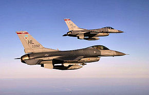34th Fighter Squadron 2 ship F-16 formation.jpg