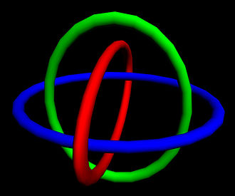 Realization of Borromean rings using ellipses 3d borromean rings by ronbennett2001.jpg