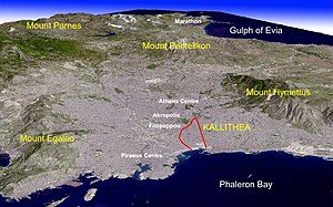 Kallithea - Kallithea on the simulated view of Greater Athens.