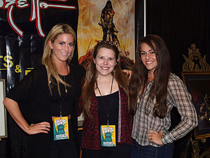 Frank Frazetta - Frazetta's granddaughters (l-r) Brittney Frazetta, Daniele Frazetta and Sara Frazetta Taylor at the Vanguard-Frazetta booth at the 2015 East Coast Comicon in Secaucus, New Jersey