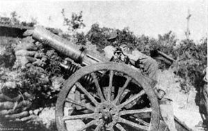 "1st Heavy Artillery Battery (Australia) - The Kangar, a 6 inch 30 cwt howitzer, about to open fire on the ""Olive Grove"" from ""White's Valley"", Gallipoli August 1915"