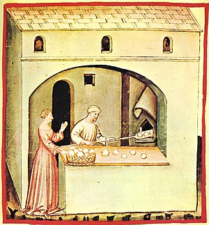 Bread - Bread shop, Tacuinum Sanitatis from Northern Italy, beginning of the 15th century