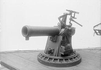 BL 7.5-inch naval howitzer - 7.5 inch howitzer HMS Vindictive IWM Q 20555