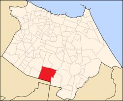 Mapa de Fortaleza com destaque para o bairro.