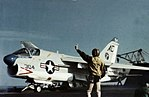 A-7E Corsair II of VA-37 is launched from USS Saratoga (CV-60) in 1976.jpg
