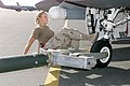 AIRMAN First Class (A1C) Danicka Jensen, a Crew CHIEF, kicks the tire on her F-16 Falcon assigned to the 366th Air Expeditionary Group (AEG), deployed at a forward base in support o - DPLA - f50cebbcaf514a6fc8af4dbece9a8bcf.jpeg