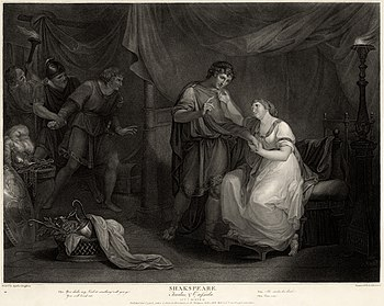 A print. The inside of a large grand tent. In the centre and right foreground are a young man and woman. Beyond them to the left, in another section of the tent, an older man is restraining an angry young man. In the far left background an ugly man looks on. The characters are dressed in a mixture of ancient, medieval and Georgian clothing.