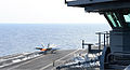 A U.S. Navy F-A-18E Super Hornet aircraft assigned to Strike Fighter Squadron (VFA) 147 launches from the aircraft carrier USS Nimitz (CVN 68) May 7, 2013 in the Pacific Ocean 130507-N-TW634-403.jpg