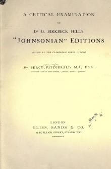 "A critical examination of Dr G Birkbeck Hills ""Johnsonian"" Editions.djvu"
