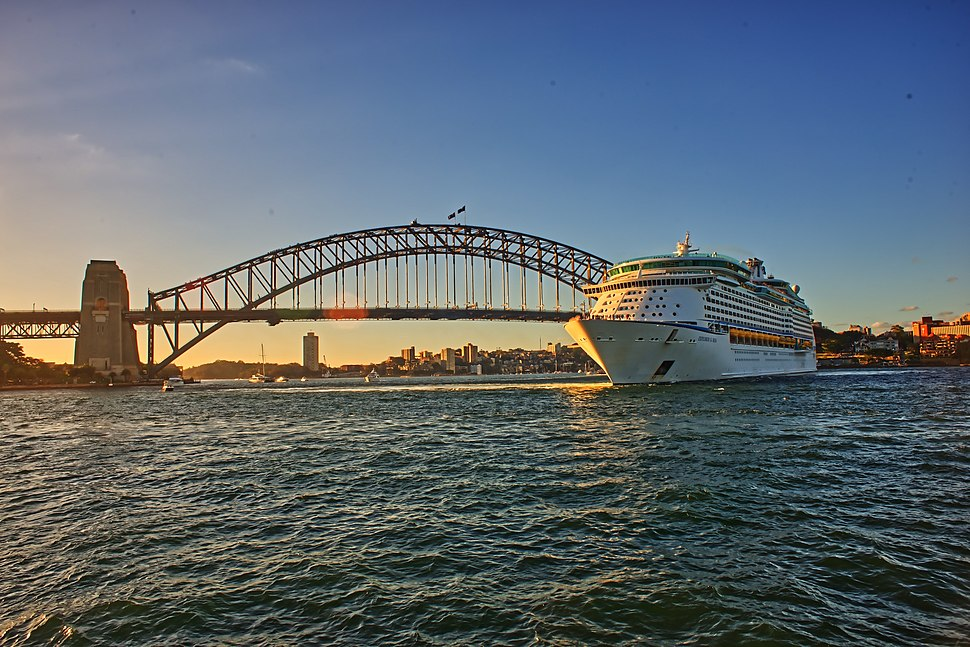 A huge cruise ship visiting Sydney Bridge Harbour