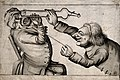 A sadistic tooth-drawer frightening his patient with a hot c Wellcome V0012043.jpg