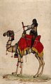 A soldier (?) on a camel. Gouache painting, 19th century Wellcome V0045595.jpg