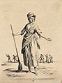 A young women has her arms outstretched holding a broom. Etc Wellcome V0020417ER.jpg