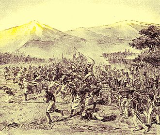 Diponegoro - Fighting between Diponegoro's forces and the Dutch colonial forces in Gawok (1900 painting)