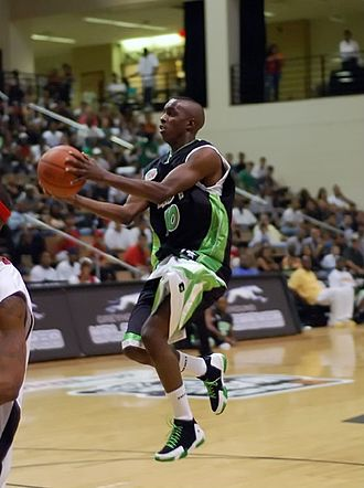 """Aaron Owens - Aaron """"AO"""" Owens going up for a shot during his AND1 days."""