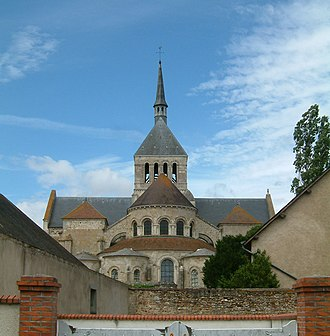 Fleury Abbey - The abbey church rises above surrounding structures