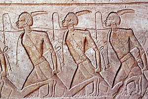 Prisoner of war - Engraving of Nubian prisoners, Abu Simbel, Egypt, 13th century BC