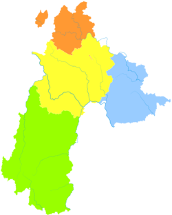 Zhongshan is the division with multiple exclaves on this map of Liupanshui