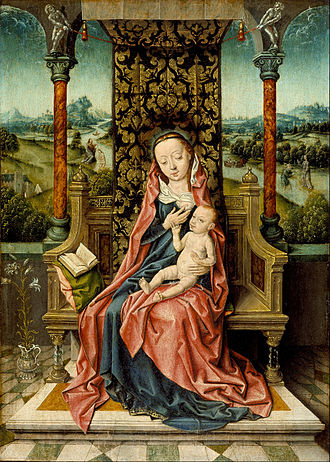 Aelbrecht Bouts - Image: Aelbrecht Bouts Madonna and Child Enthroned Google Art Project