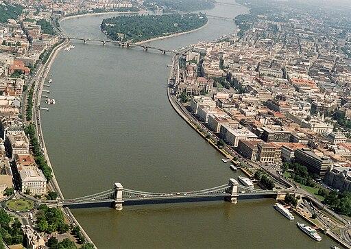 Aerial photograph of Margaret Bridge and Budapest Chain-Bridge 01