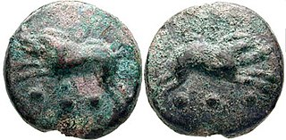 low-value Roman bronze coin worth ¼ as; the obverse featured the bust of Hercules, while the reverse featured the prow of a galley