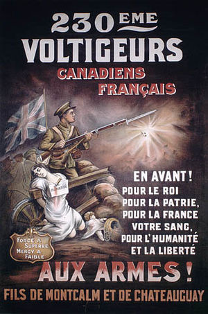 Canada in the World Wars and Interwar Years - French-Canadian recruitment poster emphasizing duty to France with French national heroes