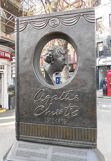 Memorial to Christie in central London Agatha Christie Memorial (cropped).jpg