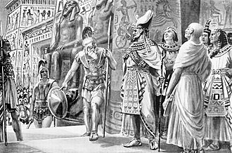 Teos of Egypt - Athenian General Chabrias (left) with Spartan king Agesilaus (center), in the service of Egyptian king Nectanebo I and his regent Teos, Egypt 361 BCE.