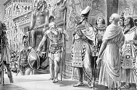 Athenian General Chabrias (left) with Spartan king Agesilaus (center), in the service of Egyptian king Nectanebo I, Egypt 361 BCE. Agesilas in Egypt 361 BCE.jpg