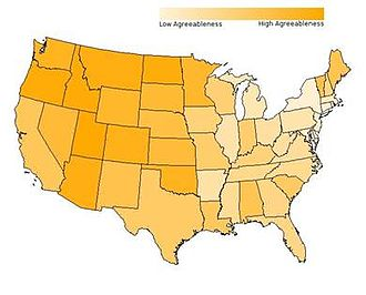 Agreeableness - Agreeableness by state. Lighter regions have lower average agreeableness.