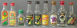 Aguardiente - Selection of different brands of aguardientes