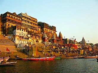 Ghats in Varanasi - Ahilya Ghat by the Ganges, Varanasi.