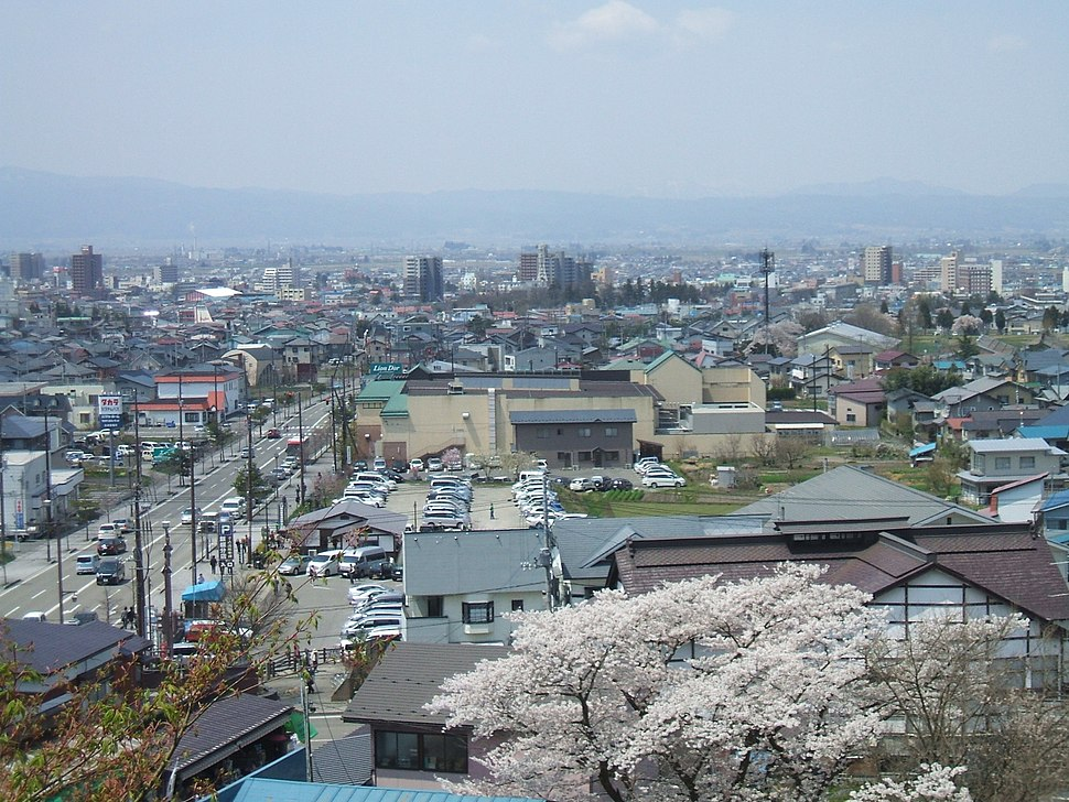 Aizuwakamatsu City's Downtown from Mt.Imoriyama